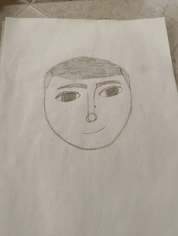 drawing of a face with short hair