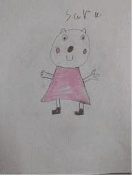 drawing of a bear wearing a pink dress