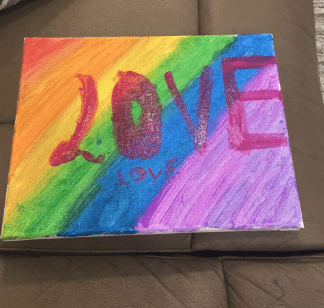 painting of the rainbow and the word love