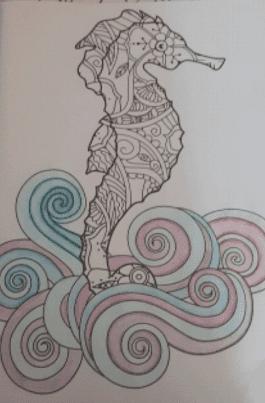 seahorse coloringbook page