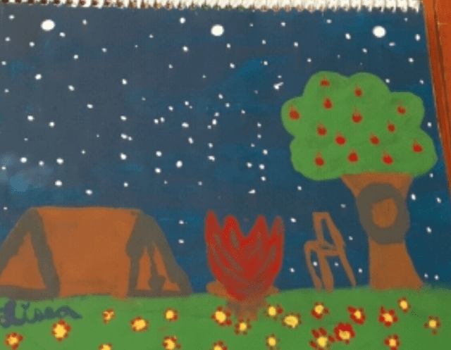 painting of a camping scene