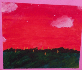 painted landscape with a red sky