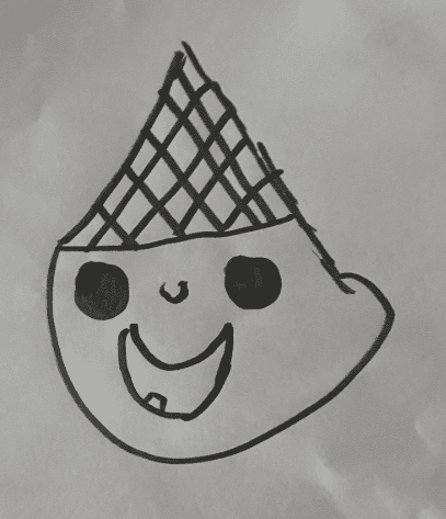 upsidown ice cream cone with a face