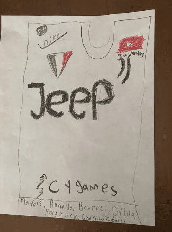 a uniform design that says jeep and has youtube and nike logos
