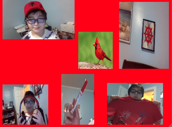 digital collage of a boy holding red objects with a red background