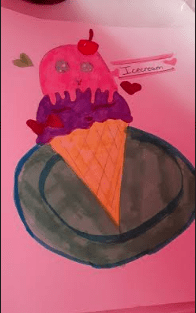 drawing of an ice cream cone with two scoops and eyes on the top scoop