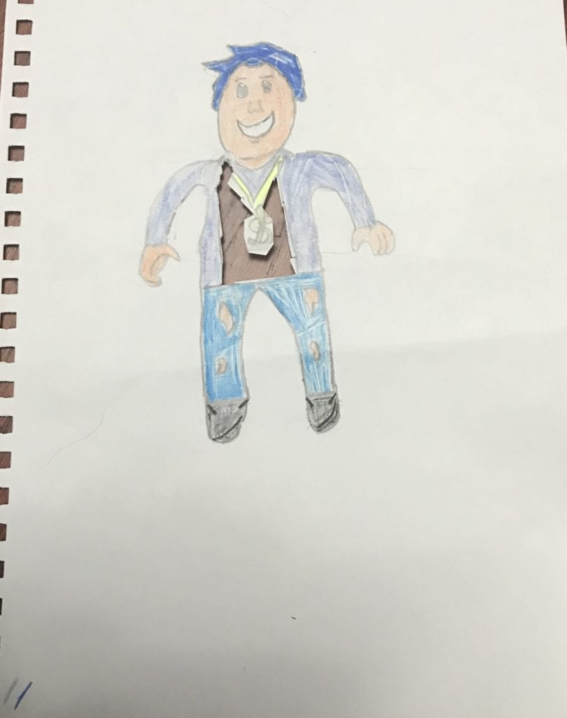 drawing of a person with blue hair