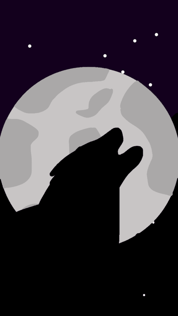 digital drawing of a silhouetted wolf howling at the moon