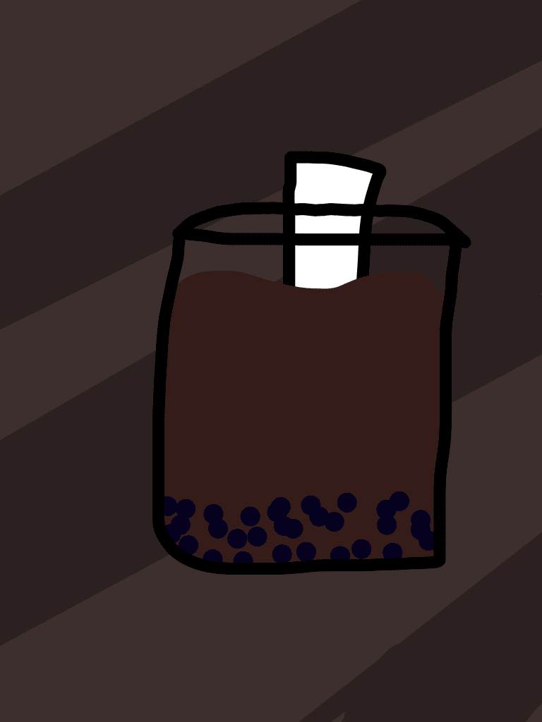 digital drawing of a brown drink with a white straw and black dots at the bottom of the glass