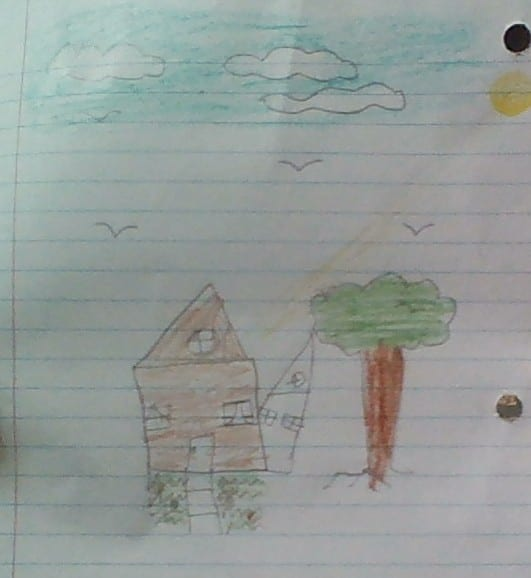 drawing of a house and a tree