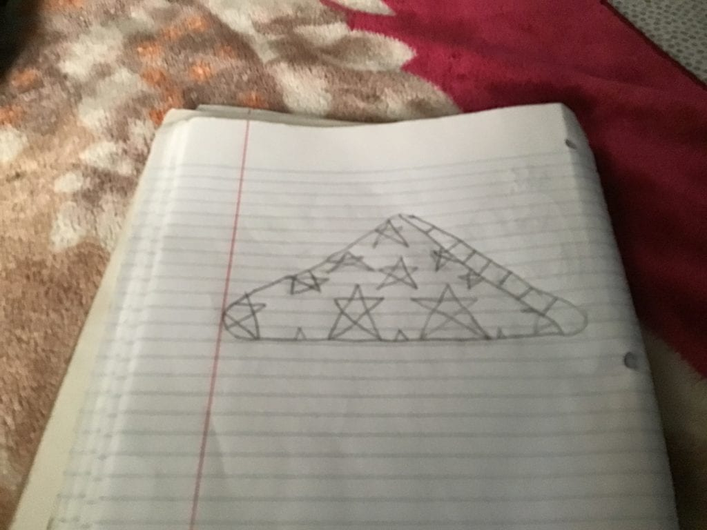 drawing of a triangle with stars in it
