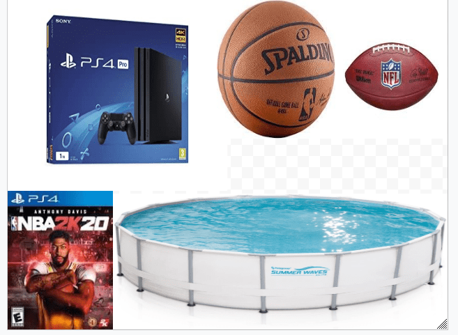 collage of pictures of a pool, a video game, a basketball, and a football