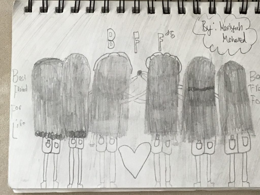 drawing of six people with the view from the back of their heads and it sayd BFF's