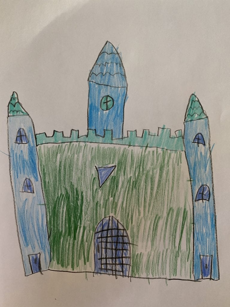 drawing of a green and blue castle