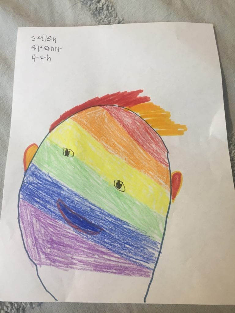rainbow face person drawing