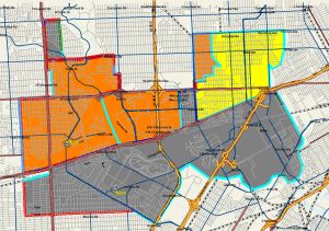 Map showing how the high school boundaries would look using Proposal 2