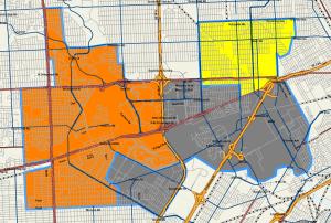 Map showing high school boundaries using proposal 3