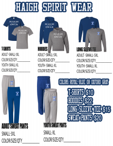 Haigh Spirit Wear List