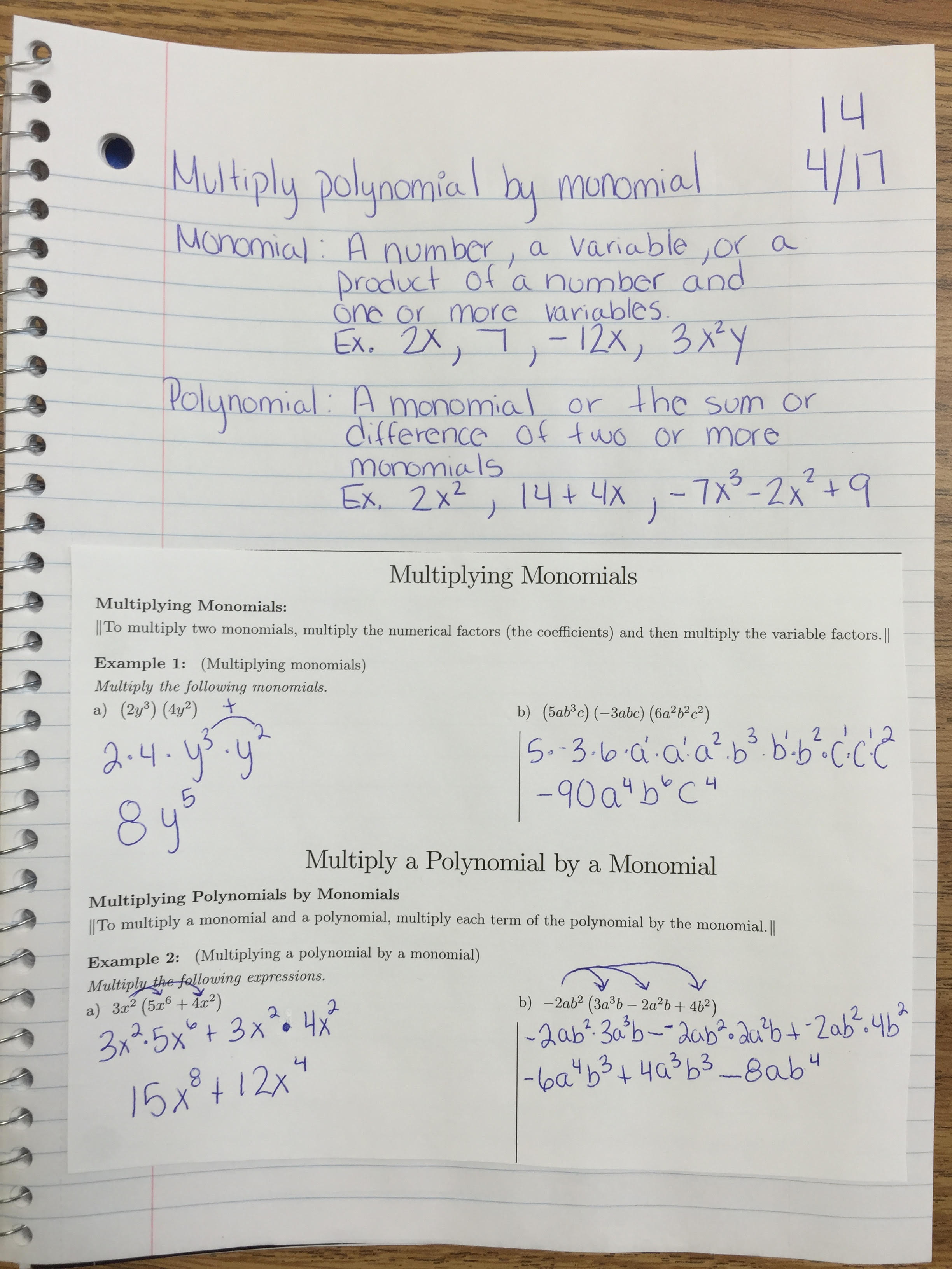 Algebra 1 – Multiplying a Polynomial by a Monomial Worksheet