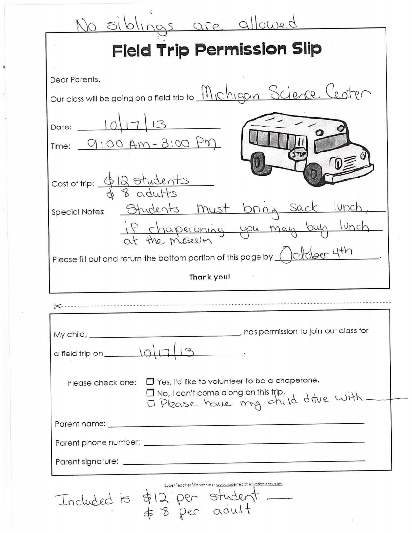 Field Trip Permission Slip « Mrs. Keebler's Blog