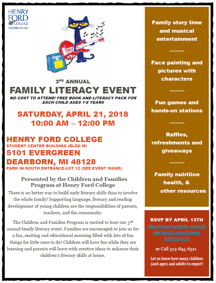 Family Literacy Event Flyer Saturday April 21, 2018. Henry Ford College 10:00 am - 12:00 pm