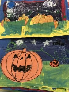 two student collages that show pumpkins sitting in grass; made out of paper