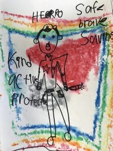 artwork that has a police officer drawn in black marker with a colorful background and black descriptive words written around the police officer