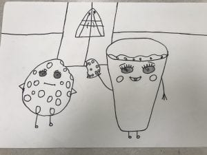 a drawing of a cookie and a glass of milk standing in front of a fridge with a Gothic window in the fridge;