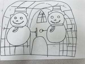 drawing of two snowmen in front of an igloo with a Gothic style window