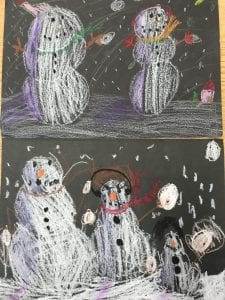 two student drawing that each show 2-3 snowmen wearing winter accessories with snowflakes falling around them