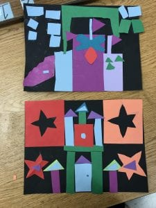 two paper collages that show castles made out of various colored shapes