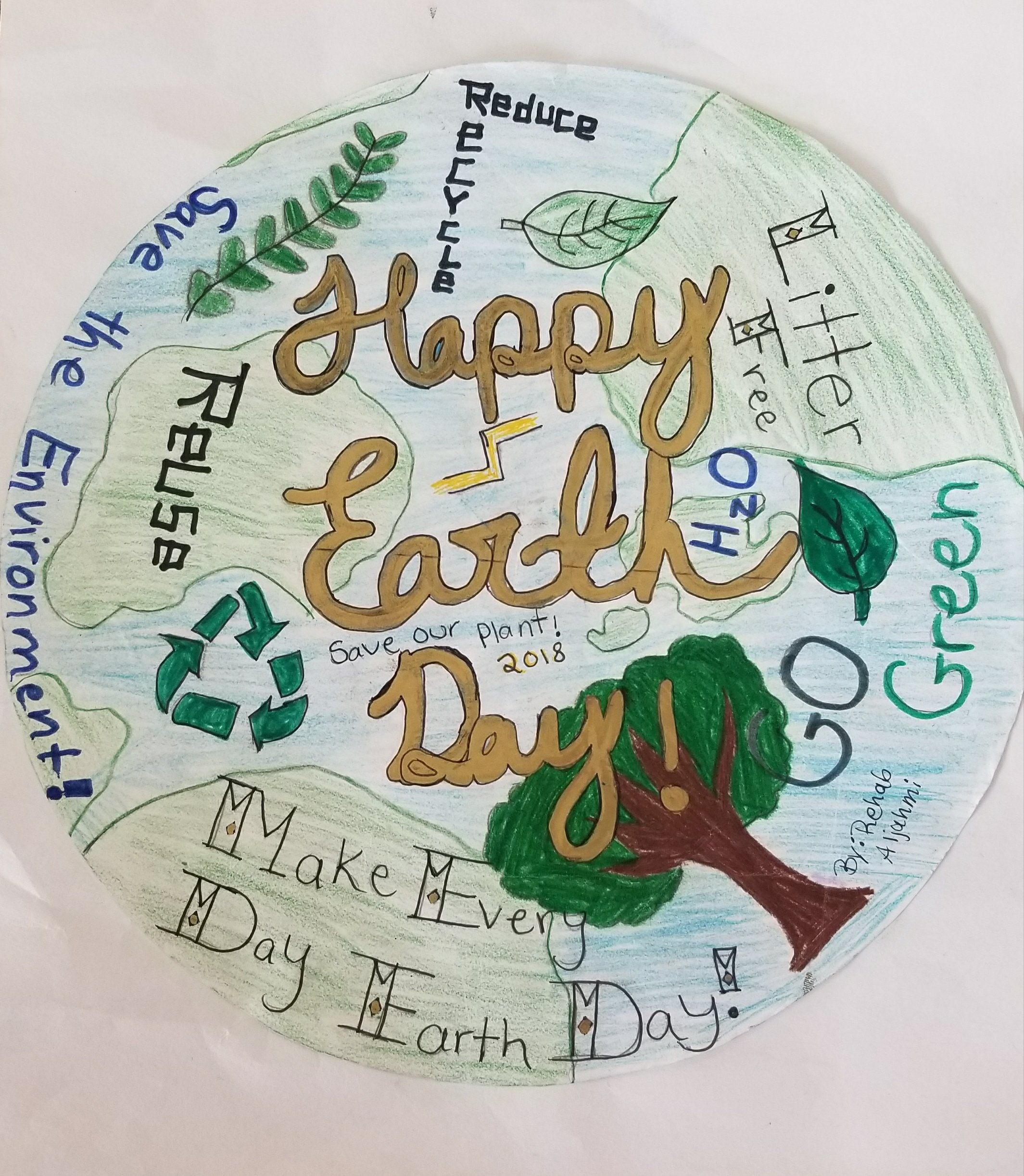 Poster That Depicts The Earth Covered In Text And Various Pictures Including A Recycling Sign
