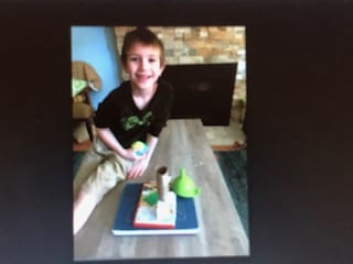 Elliott with his 3D shapes from home.