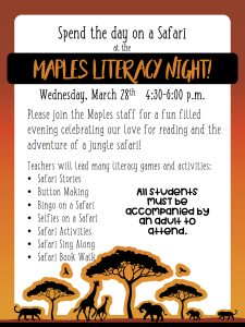 Literacy Night Come To Our Safari With Your Parent Maples