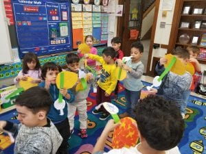 We have been learning about the sun! We made models of the Sun and Earth to show how the Earth goes around the Sun. We also sing a song about it! Ask your children to sing it to you as they rotate Earth around the Sun.
