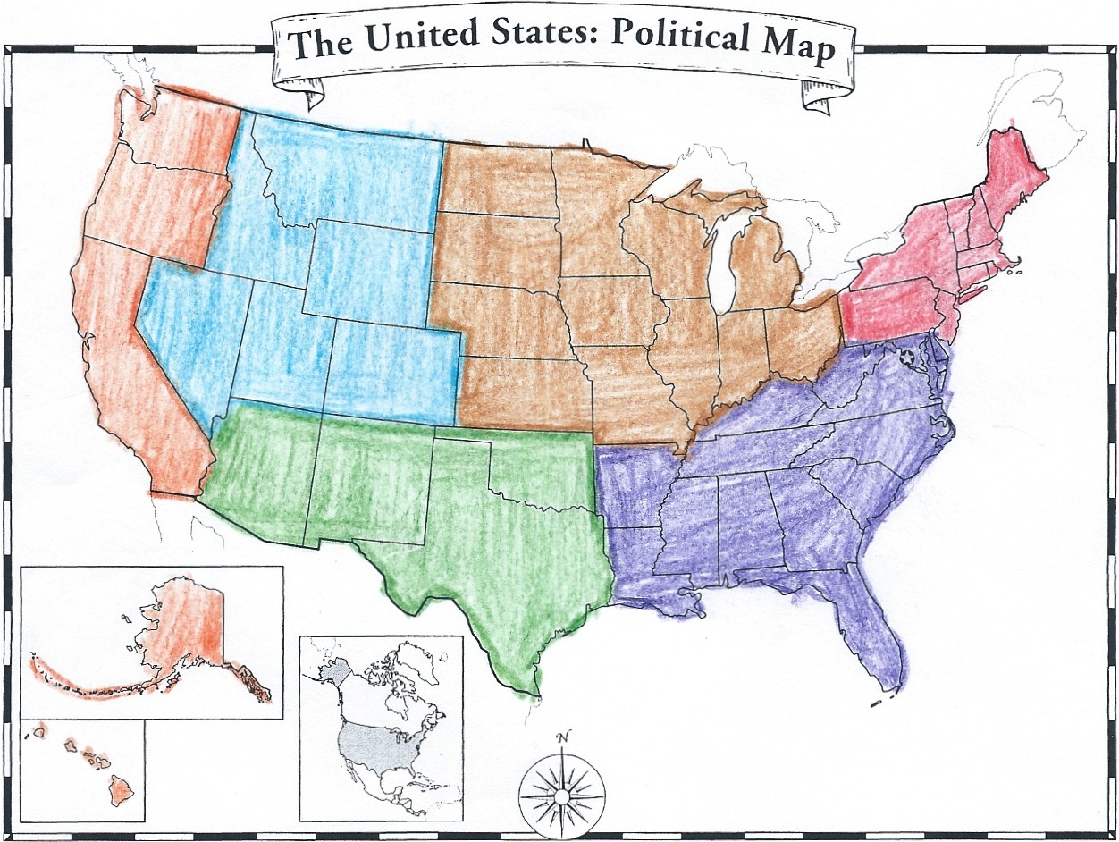 Divided Us Map Globalinterco - Us political map quiz