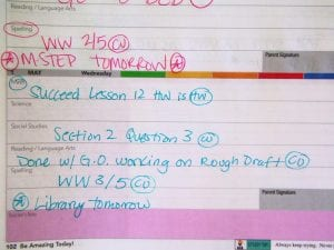 Daily Planner Snapshots – Mrs  Brady's 4th grade class