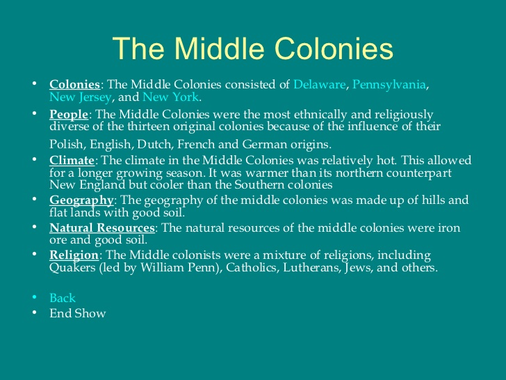 middle and southern colonies The founding of the american colonies  the middle colonies,  southern colonies - facts about the four southern colonies, nc, sc,.