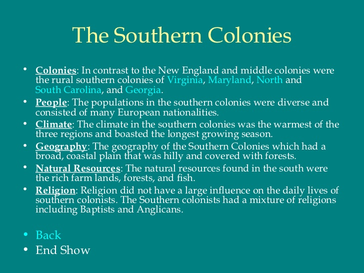 north and south colonial differences essay