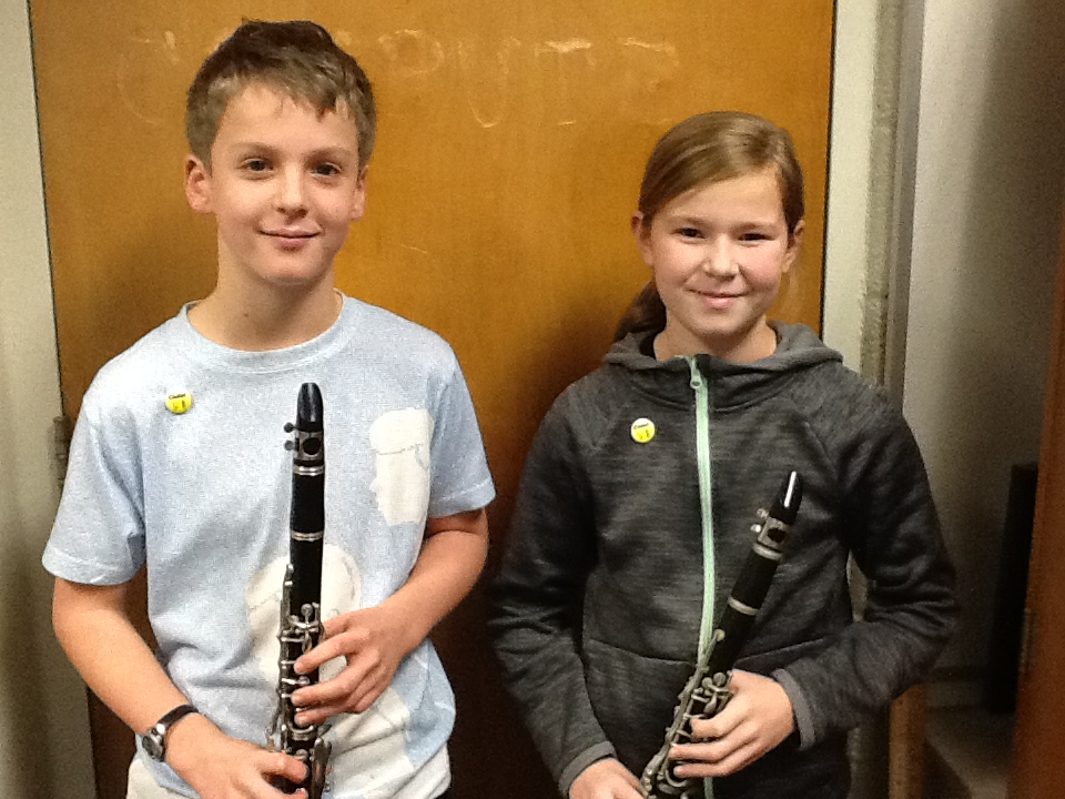 Two fine young musicians have earned their Cadet Pins in band class.  They are both clarinetists in 5th grade band.