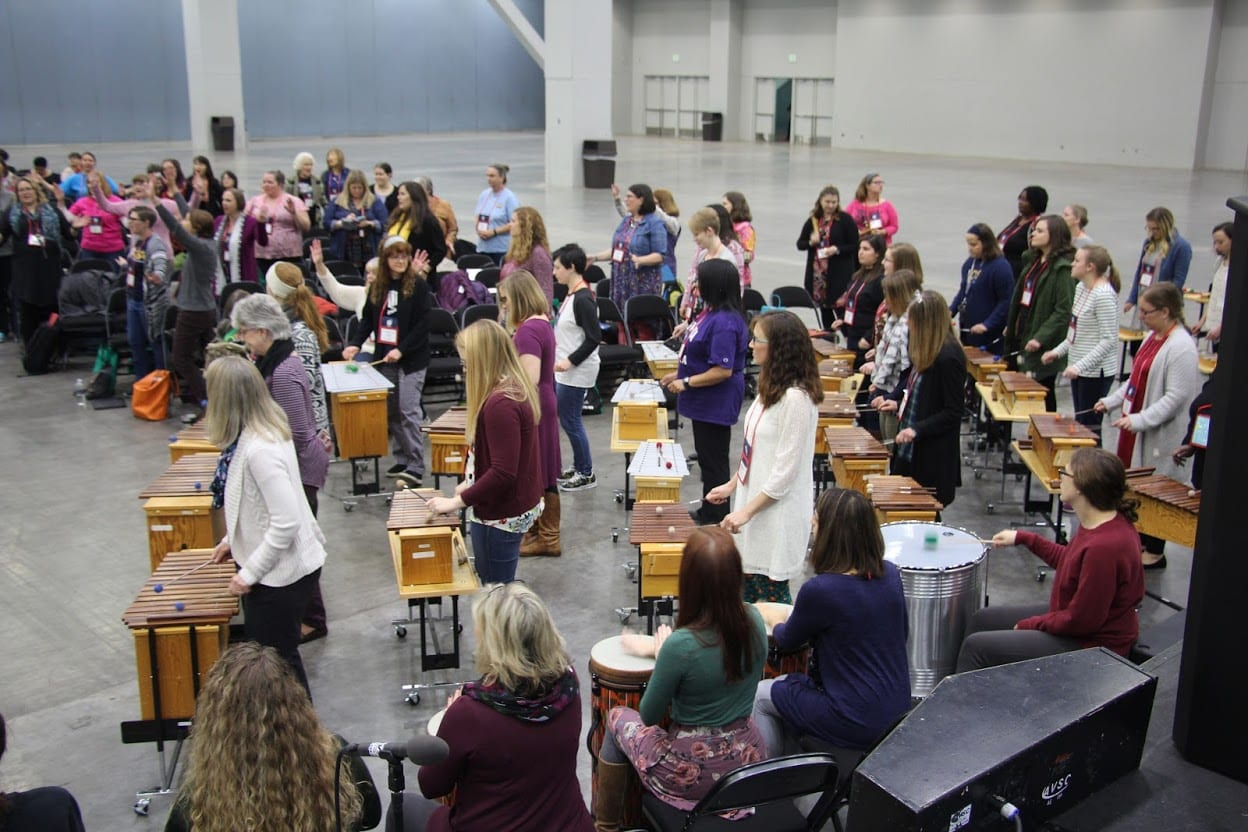 AOSA Conference photo of teachers performing on Orff Instruments