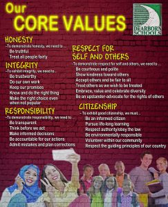 Picture of the Dearborn Public Schools Core Value Poster. The Core Values are explained in the body of the page