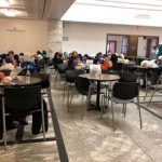 Students eating lunch at the DIA at the Prentice Court