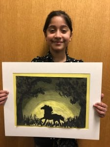 Lamees holding her Value Landscape with Silhouettes