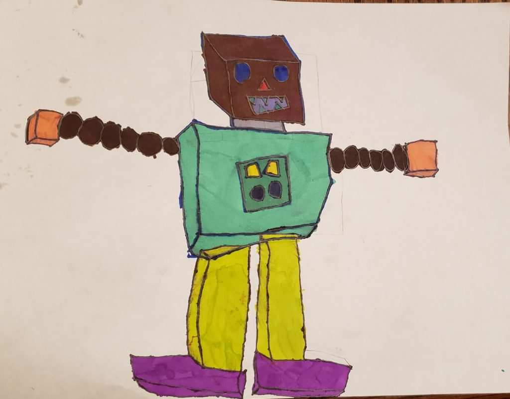 Drawing of a 3 D Robot using 3 dimensional shapes