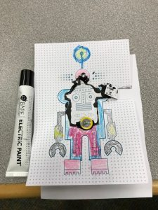 electric paint tube and a finished robot circuit card.