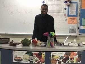 Student preparing food.