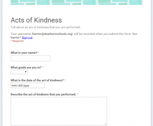 acts of kindness form