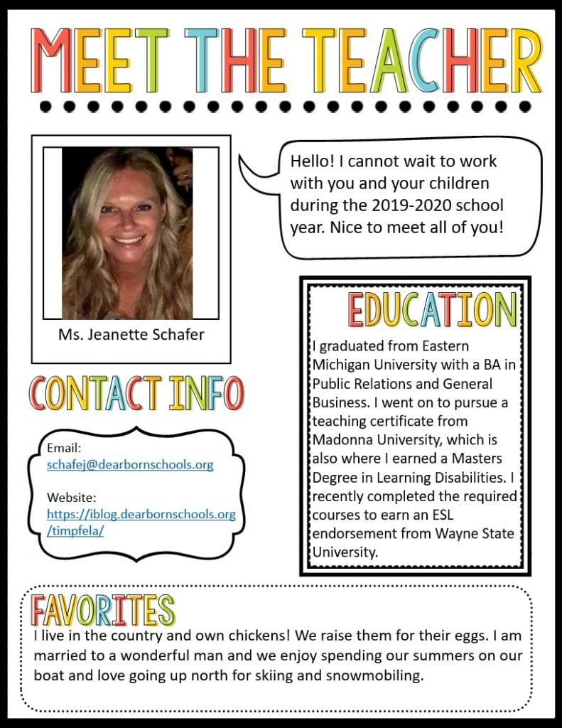 A picture of Mrs. Schafer's meet the teacher newsletter.