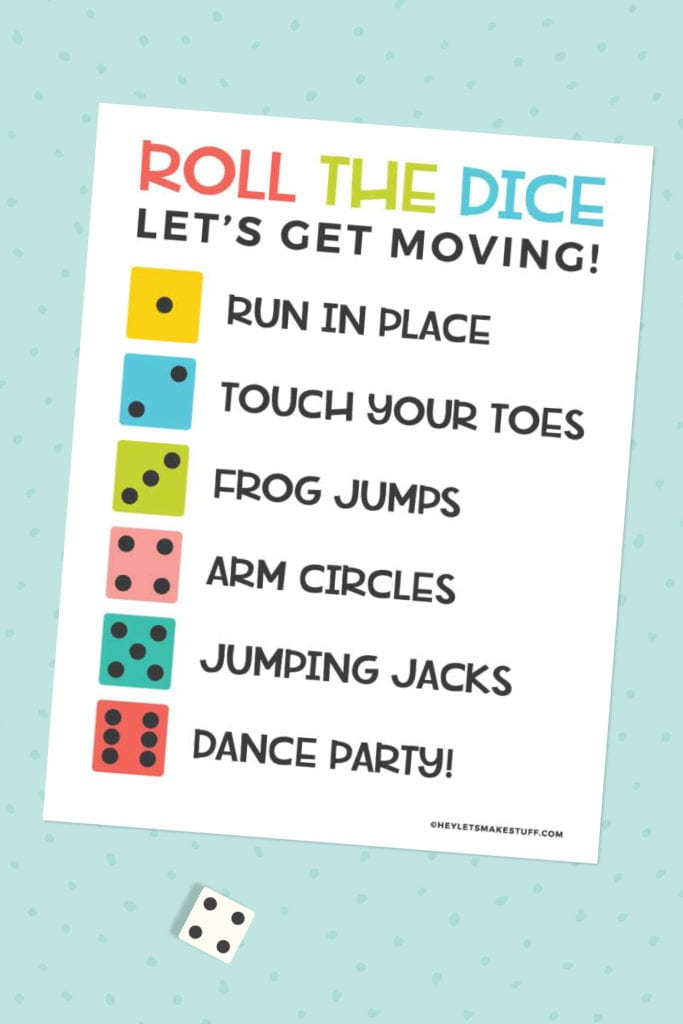 Printable Roll the Dice Exercise Game for Kids - Hey Let's Make Stuff